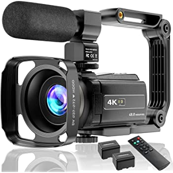 Video Camera 4K Camcorder Ultra HD 48MP Vlogging Camera for YouTube WiFi Night Vision Camcorder Touch Screen 16X Digital Zoom Vlog Camera Recorder with Microphone Remote Stabilizer Hood Batteries