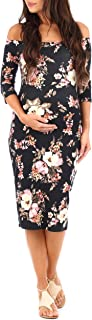 Womens Maternity Open Shoulder Dress in Floral Print,Black,Medium