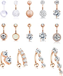 Jstyle 14Pcs Stainless Steel Belly Button Rings for Women Girls Reverse Navel Rings Curved Barbell CZ Body Piercing Jewelr...