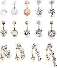 حلقه های دکمه شکم استیل ضد زنگ Jstyle 14Pcs برای دختران حلقه های معکوس ناف معکوس Barbell CZ جواهرات سوراخ کردن بدن 14G