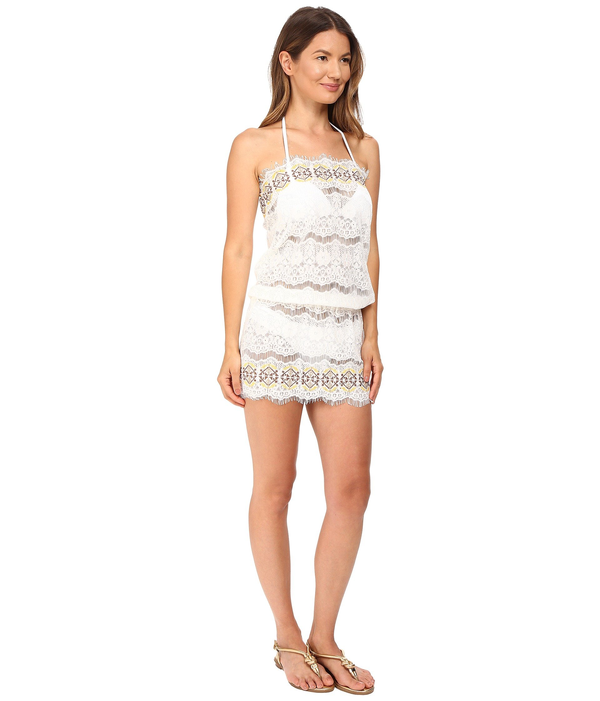 Queen pawn kea lace embroidered strapless beach dress in