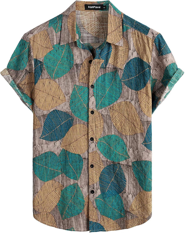 VATPAVE Mens Floral Hawaiian Shirts Short Sleeve Button Down Beach Shirts