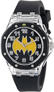 Batman Kids' BAT9114 Flashing Dial Watch with Black Plastic Band
