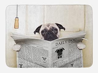 Ambesonne Pug Bath Mat, Puppy Reading The Newspaper on The Toilet Bathroom Funny Image Pug Joke Print, Plush Bathroom Decor Mat with Non Slip Backing, 29.5