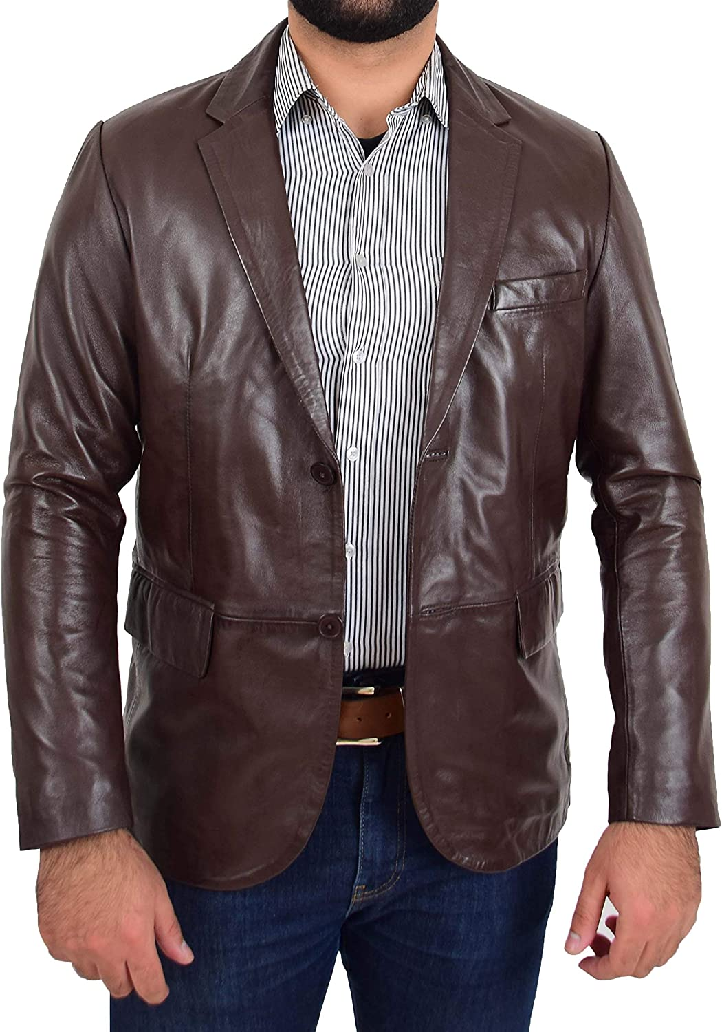 Mens Brown Leather Blazer Jacket Fitted Cut 2 Button Coat Donnie