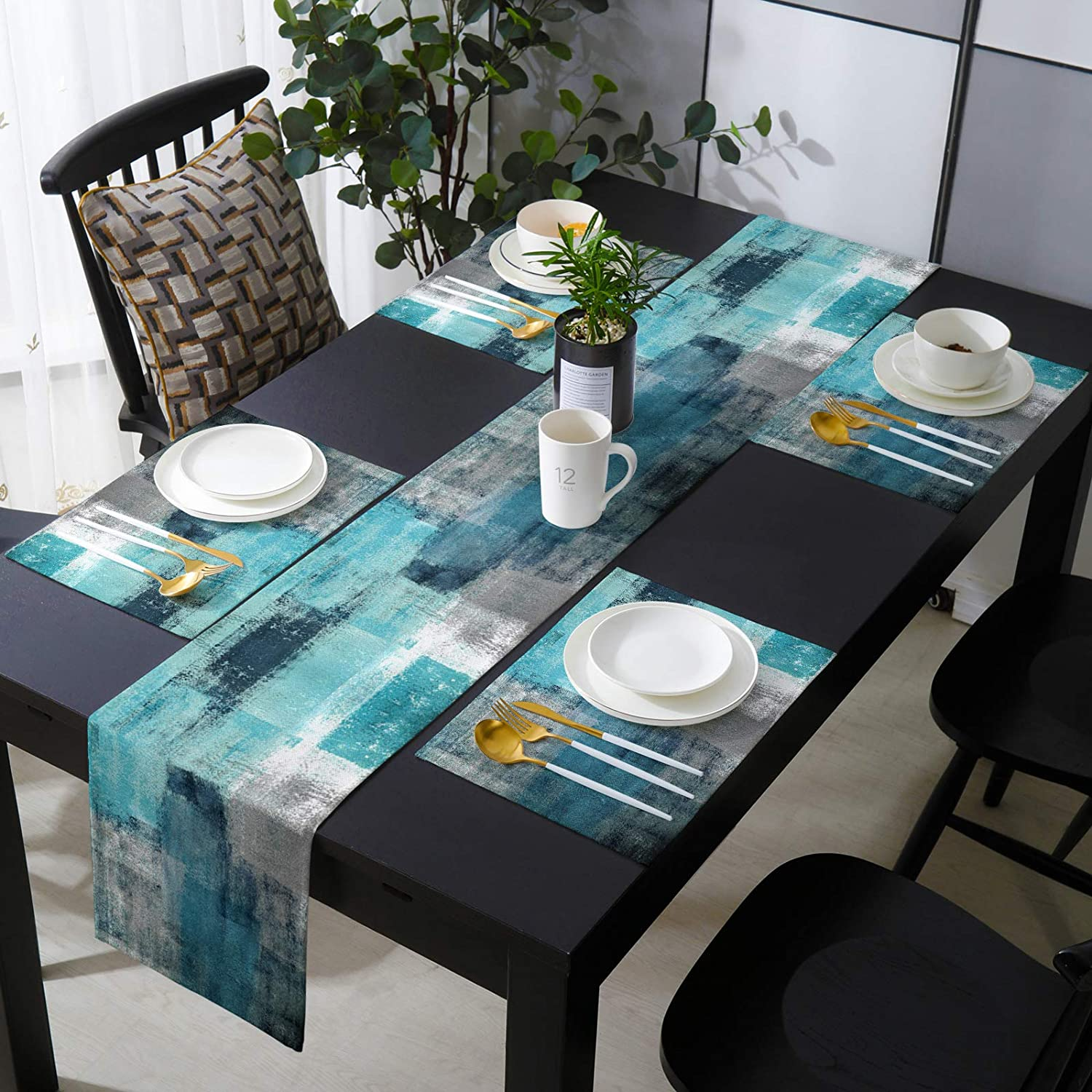Farmhouse Baltimore Mall Placemats with Burlap Animer and price revision Table Turq Runner Long inches 90