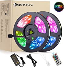 Led Strip Lights,Kwanan 32.8ft(10M) LED Light Strip 300 LEDs SMD 5050 12VDC Waterproof Flexible Light Strips Kit with 44Key Remote Controller and 5A Adapter for TV,Bedroom,Kitchen