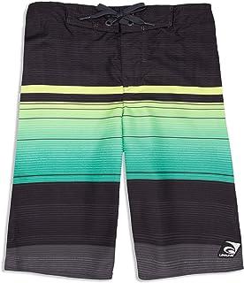 LAGUNA Boys Ombre Tropical Stripe Boardshorts Swim Trunks, UPF 50+