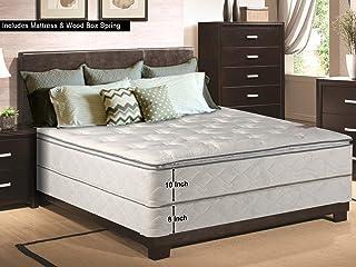 Continental Sleep, 10-inch Medium Plush Innerspring Pillowtop Mattress and 8-inch Box