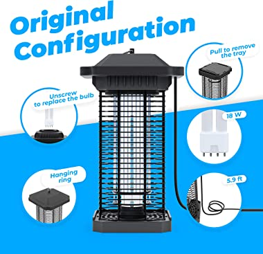 Waterproof Bug Zapper Outdoor Electric Mosquito Killer Lamp IPx4 Gnat Insect Fruit Fly Trap for Patio, Backyard and Home