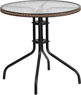 Flash Furniture 28'' Round Tempered Glass Metal Table with Dark Brown Rattan Edging