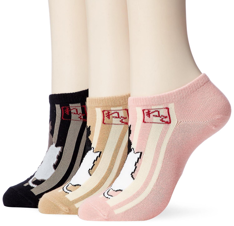 (イヤシ) 癒足 【レディース】快適 スニーカーソックス 3足セット モダン和柄 22-25cm 各色セット