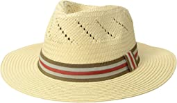 Paper Fedora w/ Striped Grosgrain Band