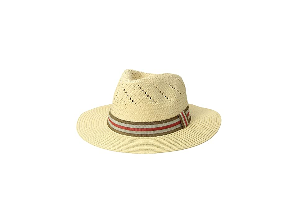 San Diego Hat Company Paper Fedora w/ Striped Grosgrain Band (Natural) Caps