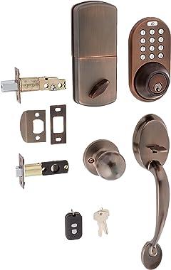 MiLocks BXF-02OB Digital Deadbolt Door Lock and Passage Handleset Combo with Keyless Entry via Remote Control and Keypad Code