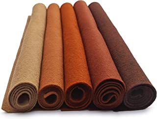 Brown Tones - Multi-Pack - Set of 5 Wool Blend 12x18 inch Sheets - 30% Merino Wool Felt for Fiber Art and Craft & Felt Food Meat