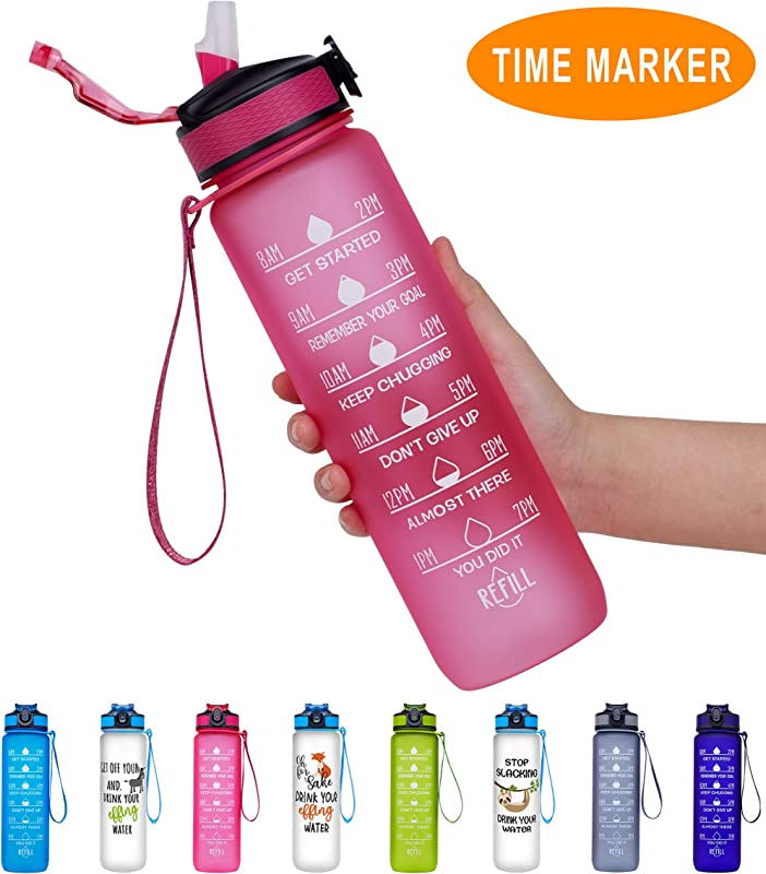 Giotto 32oz 22oz Leakproof BPA Free Drinking Water Bottle With Time Marker Straw To Ensure You Drink Enough Water Throughout The Day For Fitness And Outdoor Enthusiasts