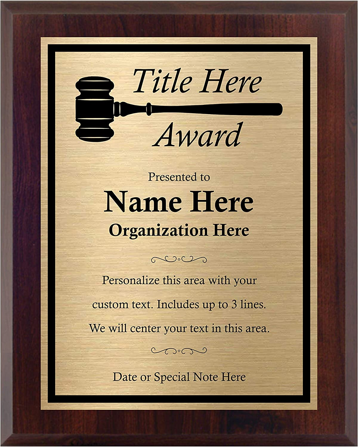 Custom Plaque with unisex Gavel - Choose Your and Rapid rise Title Personali Size.