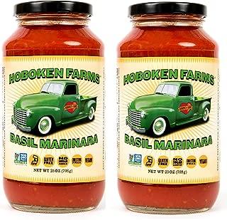 Hoboken Farms Basil Marinara Gourmet Sauce - No Sugar Added, Non GMO Project Verified, Vegan, Cholesterol Free, Plant Based, Keto & Paleo Friendly (2-Pack)