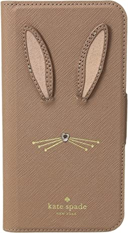 Rabbit Applique Folio Phone Case for iPhone X