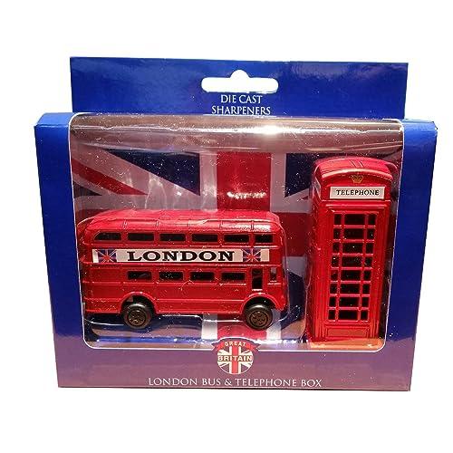 Fundición de Reino Unido GB Metal teléfono londinense y Londres camino Maestro autobús sacapuntas juego!