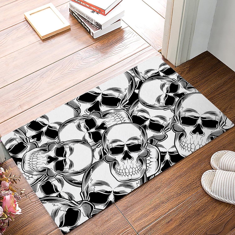Findamy Non-Slip Indoor Door Mat Entrance Rug Rectangle Absorbent Moisture Floor Carpet for Halloween Theme Skull Pattern Doormat 20x32 inch
