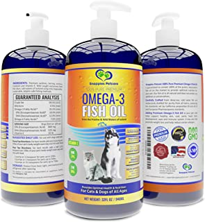 Snappies Petcare Omega 3 Fish Oil for Dogs and Cats – Wild & Pure Icelandic Liquid Fish Oil Supplement - No Odor & More EP...