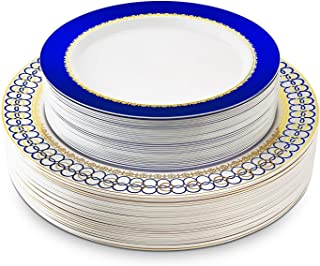 "60 Pieces Disposable Plastic Plates Set, Fancy Premium Plates for Parties with Unique Real China Design, Dinner Plates Set – 30x10.25"" Dinner and 30x7.5"" Salad Hard Plates Combo (Royal Blue & Gold)"