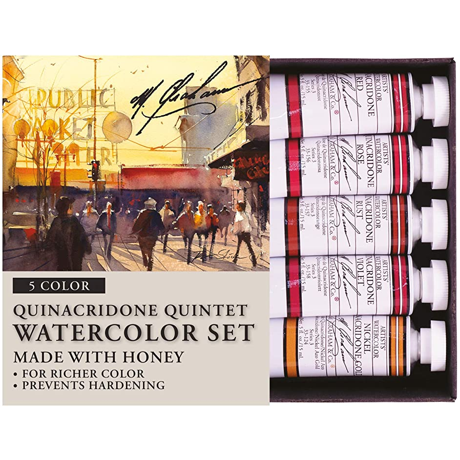 M. Graham 1/2-Ounce Tube Watercolor Paint Set, Quinacridone Quintet 5 (33-QUIN)