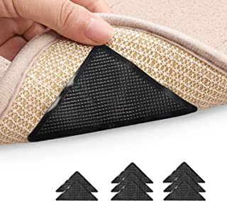 Seanonwly 8pcs Rug Gripper Anti Curling Rug Gripper for Carpet Non Slip Adhesive Rug Pad for Area Rugs Carpets Tape for Fl...