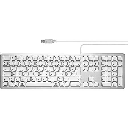 Perixx PERIBOARD-325, teclado de aluminio con cable silencioso y retroiluminado para Mac OSX, 13 teclas multimedia y 2 puertos USB, color blanco ...