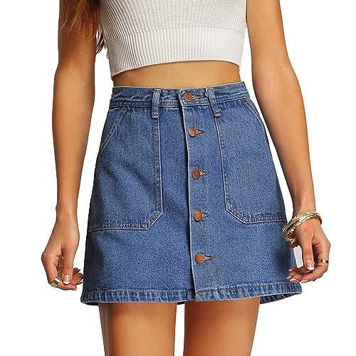 369fdf327 Verdusa Women's Button Front Denim A-Line Short Skirt