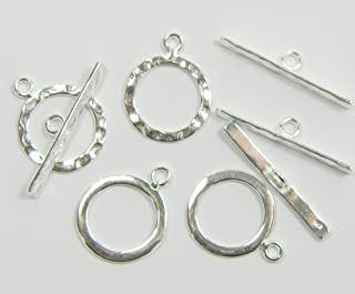 4 Full Hammered .925 Sterling Silver Jewelry Toggle Clasps 14mm. 4 Clasps 8 Pieces Jewelry Findings