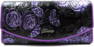 ArtsEye Roses Embossed Genuine Leather Trifold Wallet Purse (Purple)