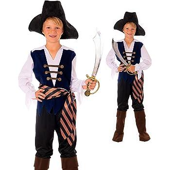 Magicoo karibischer Kapitän Piratenkostüm Kinder Jungen Blau/Braun/Schwarz/Weiß Gr. 110 bis 152 - Pirat Kostüm Kind Fasching (128/134)