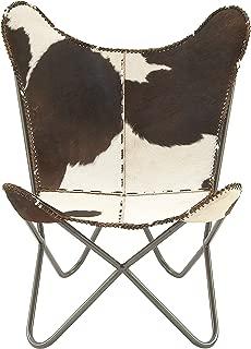Deco 79 94987 金属真皮直发椅,30 英寸 x 36 英寸