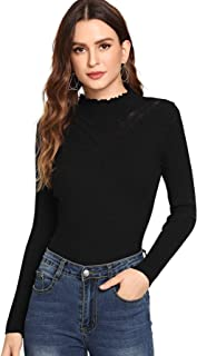 SheIn Women's Soft Long Sleeve Mock Neck Ribbed Knit Pullover Sweater Tops