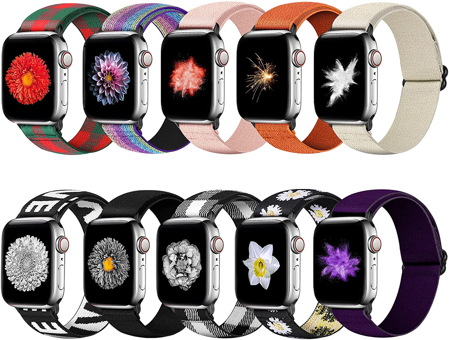 Tiptops 10 PACK Watch Band Compatible with Apple Watch Band 38mm 40mm 41mm 42mm 44mm 45mm, Elastic Adjustable Length, Stretch Nylon Sports Watch Strap, Compatible with iWatch Bands Series SE/7/6/5/4/3/2/1 for Men Women