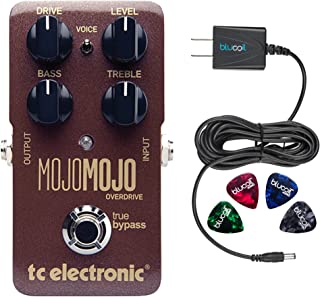 TC Electronic MojoMojo Overdrive Pedal for Electric Guitars Bundle with Blucoil Slim 9V Power Supply AC Adapter, and 4-Pac...