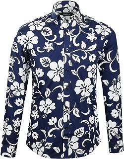 APTRO Men's 100% Cotton Long Sleeve Regular Fit Floral Button Down Shirt