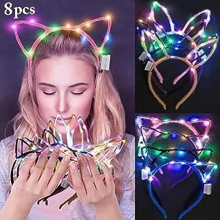 LED Bunny Ear Headband, Fascigirl 8 PCS Light Up Rabbit Ears Cat Ear Headband Cute Hairbands for Girls Adult Halloween Christmas Party Decorations Hair Accessories