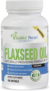 Best Organic Flaxseed Oil Softgels - 1000mg Premium, Virgin Cold Pressed from Flax Seeds - Hair Skin & Nail...