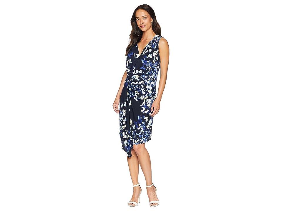 Ellen Tracy Twisted Front Sleeveless Dress (Trellis Blossom/Ink) Women