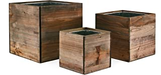 CYS EXCEL - Cube Wood Planter Box Set - Include Zinc Metal Liner [7 Sizes Combinations] - Ideal for Garden Decoration - [Set of 4 Sizes: 4