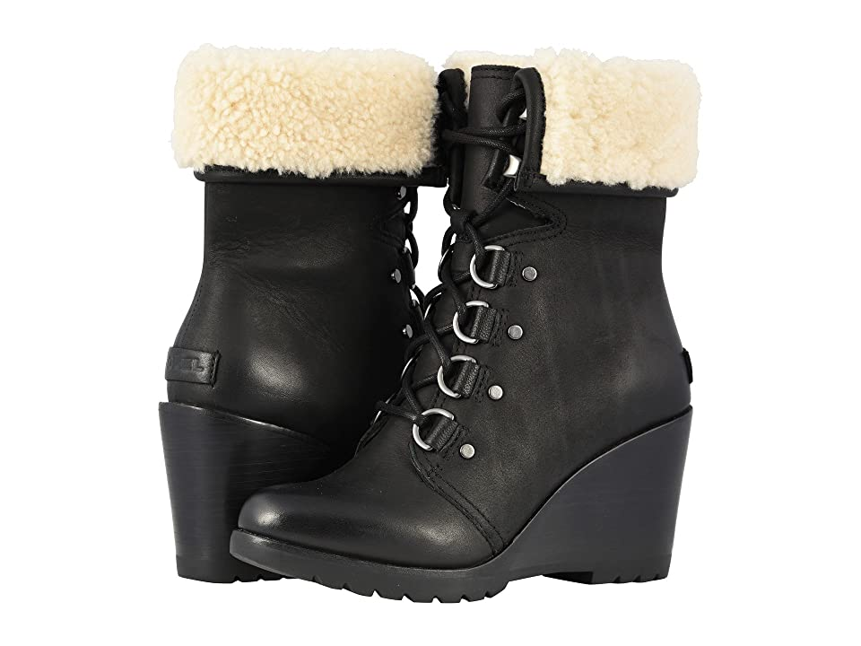 SOREL After Hourstm Lace Shearling (Black Full Grain Leather) Women