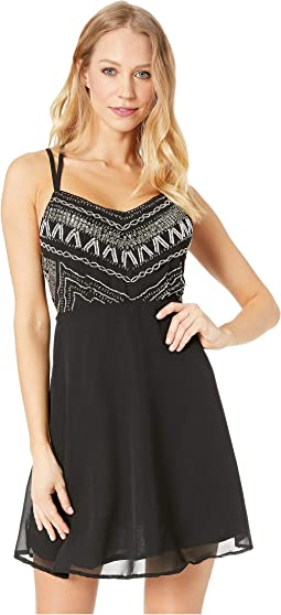 Embellished Lattice Mini Dress