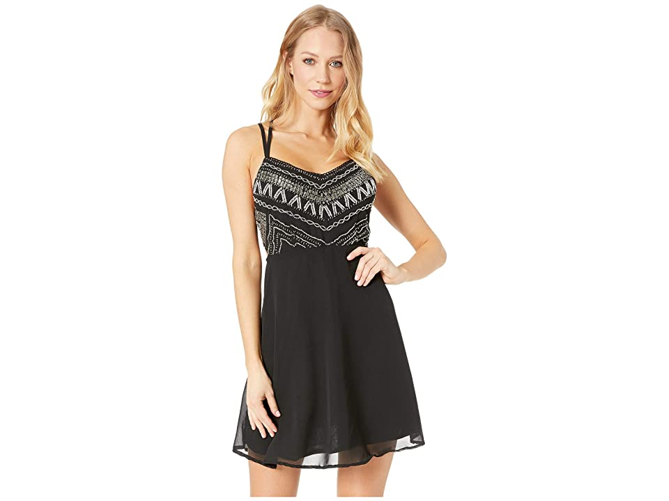 Angie Embellished Lattice Mini Dress (Black) Women
