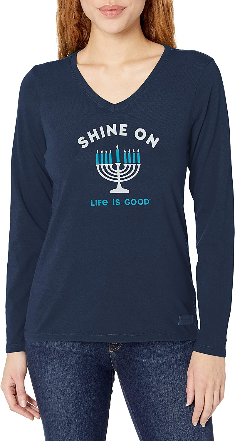 Life Is Good Womens Hoho Long Sleeve Crusher T-shirt Shine On Menorah