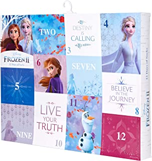 Girls 12 Days Advent Box, Assorted Bright-Frozen 2, Sock Size 6-8.5, Fits Shoe Size 7.5-3.5