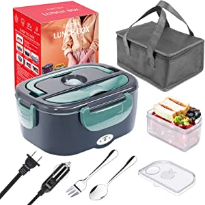 Electric Lunch Box, 3 in 1 Portable Food Warmer Heater Lunch Box for Car, Truck, Work, Home & Office- 110V/12V 24V 40W, Removable 304 Stainless Steel Container 1.5L, SS Fork & Spoon and Carry Bag